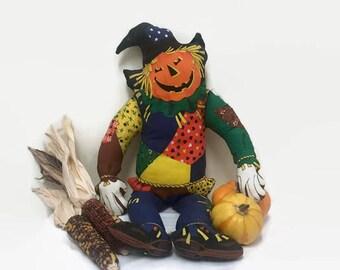 Vintage Halloween Scarecrow, Jack O'Lantern, Stuffed Pillow Soft Doll, Halloween Autumn Decor