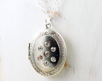 Vintage Silver Locket,  Rhinestone Locket, Photo Locket, Oval Locket, Vintage Locket, Anniversary Gift for Her