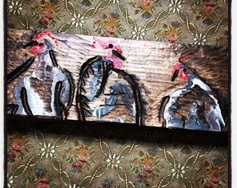 Chickens on fence-chicken artwork -chicken art-chicken painting
