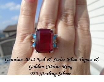 20 ct Red Topaz, Golden Citrine & Swiss Blue Topaz Ring Sizes 6.5 Or 7.5