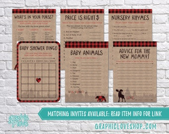 Digital Set of 6, 5x7 Lumberjack Theme Baby Boy Shower Games & Advice for Mom Card | PDF File, Instant Download, Ready to Print