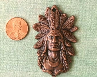 Indian Chief Head with Full Headdress Antiqued Copper Pewter Pendant