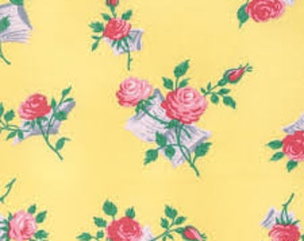 Fabric by the Yard -- Love and Friendship Love Notes in Butter by Verna Mosquera