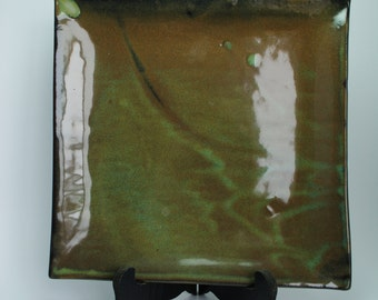 Handmade Pottery Plate | Ceramic Plate | Slab Built in Dark Marco | Ready to Ship
