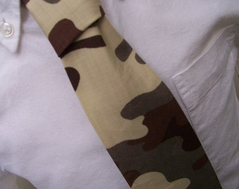 Boys Brown Necktie Me and Matilda Camouflage Tie