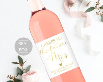 Bridal Shower Wine Bottle Label, Cheers to the Future Mrs Bottle Wine Label, Future Mrs Wine Label, Bridal Shower Wine Label