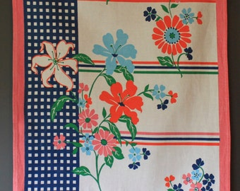 Vintage Cotton Floral Tea Towel
