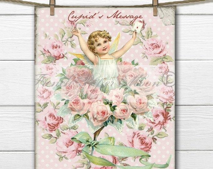 Digital Shabby Chic Vintage Valentine, Victorian, Cupid, Cherub, Angel, Rose Wreath, Fabric Transfer Pillow Graphic