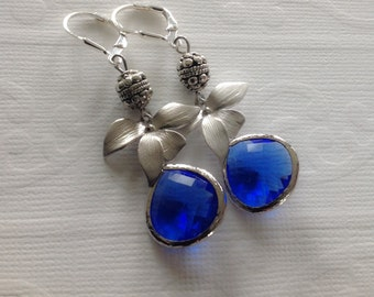 Orchid jewelry, Dangle earrings, Cobalt blue earrings, gift for her, gift for wife, bridesmaids gifts, blue drop earrings, leverback
