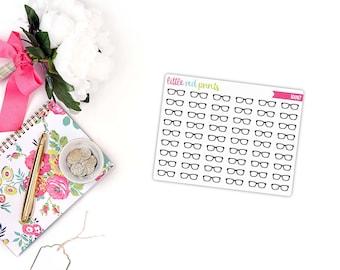 QUARTER SHEET - Glasses Planner Stickers for the Erin Condren Life Planner Happy Planner, School Sticker, Icon Sticker - [i0087]