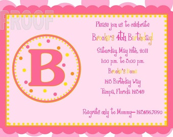 Monogram Custom Birthday Invitation