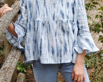 Linen bell sleeve empire smock top:  Small Batch