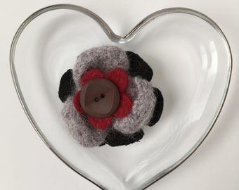 Flower Felt Brooch, Red, Grey and Black with Button