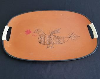Mid-Century Orange Partridge Tray with Handles