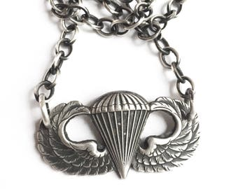 Vintage Vietnam War Era Paratrooper Parachute Pin Necklace Him or Her Air Force USAF 18 1/2 Inch Sterling Chain
