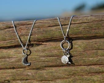 Eco Sterling Silver Moon Pendants.