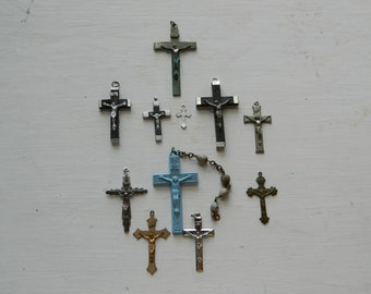 Antique Crucifix Lot Old Vintage Lot of Crucifixes FRENCH Catholic Crucifix Cross Lot from a Collection