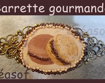 Gourmet, fabric buttons beaded Barrette