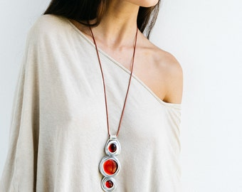 Long Red Necklace, Wrapped Stone Necklace, Statement Necklace, Pendant Necklace, Stones Necklace, Leather Necklace, Stylish Necklace, Charm.
