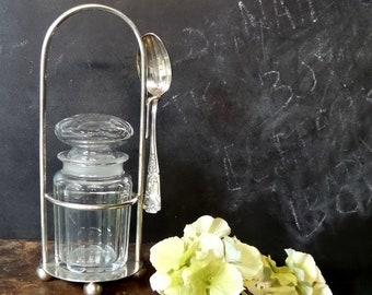 Antique 1940s Hand blown Crystal jam jar. Vintage jelly jar . French crystal cut jar .
