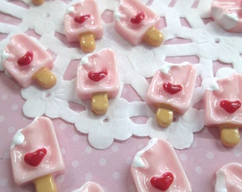 Decoden Pink popsicle kawaii cabochons,  Cute Ice Cream Cabs, #076b
