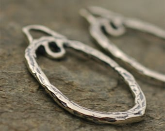Long Oval Earring Drops w Loop in Sterling Silver, Pair, E-264, S/2