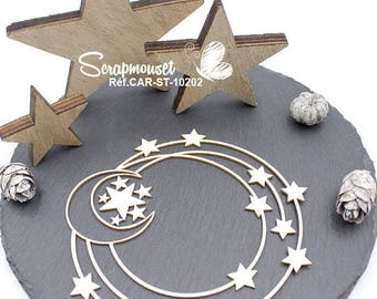 Embellishment star frame with Moon for Scrapbooking, creative card making, Home decor.