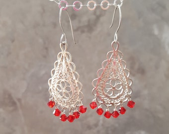 Sterling Silver Filigree Teardrop Shape Chandelier & Red Swarovski Crystal with Sterling Silver *Clearance* - Free Shipping