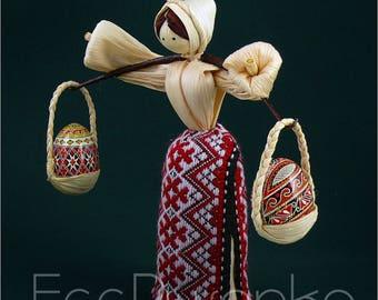 SET 2 Quail Pysanka+Handmade corn husk dolls by artist Ukraine Easter Pysanky
