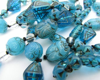 Art Deco Translucent Blue Neiger Brothers Egyptian Revival Scarab Beads Necklace