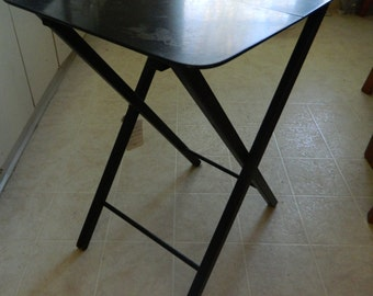 Folding side table TV tray table / shabby rustic farm house or repaint cottage chic