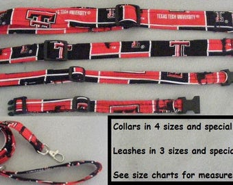 Texas Tech Fabric Dog Collars, Breakaway Cat collars and Leashes - all sizes - pet collars that are Adjustable and Reinforced