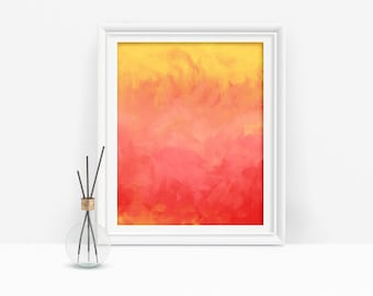 Orange Abstract Printable Art, Orange and Yellow Decor, Living Room Wall Art Download