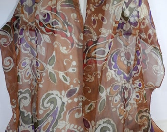 Chiffon Scarf, Hand Painted Batik Silk Chiffon Paisley in Warm Neutrals of Camel, Cream, Olive, Wine, and Rust