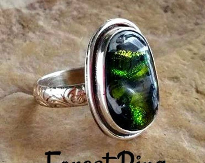 Forest Memorial Ring in Sterling Silver, Ashes in Glass, Cremation Jewelry, Pet Memorial