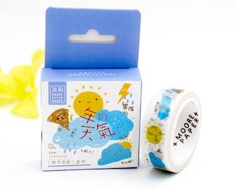 Weather Washi Tape, Sun, Cloud, Rain Washi Tape,cloud lighting washi, raining washi tape, bullet journal accessories, planner washi tape