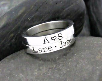 Mother's Ring - Personalized Ring - Stacking Rings - Ring Set - For Mom - Mother's Jewelry - Name Rings - Silver Ring - Kids Names