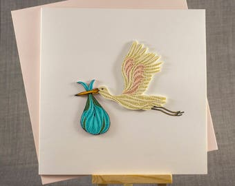 3D Handmade Card  Quilling Card Quilled New Baby Card Paper Quilling
