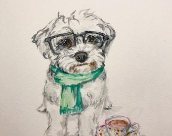 CUSTOM PET PORTRAIT - original watercolor painting of your pet, for pet moms, not a print, Shiba Inu, Corgi, Maltese, Dog Watercolor bulldog