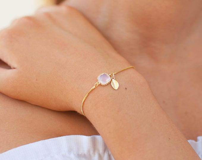 Featured listing image: Tiny Birthstone & Initial Bracelet