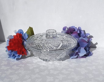 Heart Shaped Pasari Candy Dish, Lidded Pressed Glass Vintage Candy Dish , KIG Indonesia presented by Donellensvintage