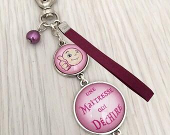 MAITRESSE ,porte-clés bijou de sac a message  une maîtresses qui déchire rose,REF.32