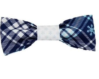 Snowflake plaid dog bow and bowtie Holiday Christmas Snowflake Winter Boho Gifts for dogs and dog lovers