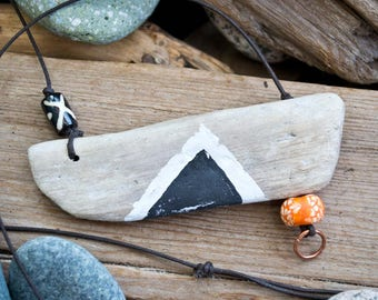 FREE SHIPPING driftwood necklace, driftwood pendant, painted driftwood, ceramic beads, adjustable dark brown cotton cord.