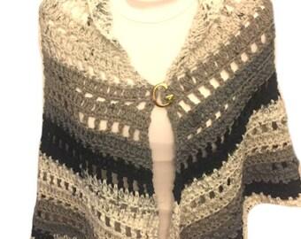 Cookies and Cream Crochet Shawl Handmade Hand Crocheted