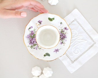 DEMITASSE CUP and Saucer, English Bone China by Hammersley, Victorian Violets Pattern, Little Princess Birthday Tea Party Inspiration