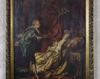Antique oil painting, portrait on canvas, ornate gilt gilded wood frame, boudoir scene, french prostitute, 1700s 1800s, castle interior, big