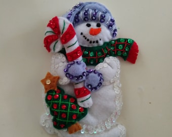 "Handmade Felt SNOWMAN with CANDY CANE  Gift Card holder 6 1/2"" h x 4 1/2"" w"
