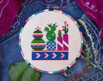 No. 3 Cactus Cross Stitch, Succulent Cross Stitch Pattern PDF, Mexican Cross Stitch, Botany, Plant Cross Stitch, Modern Cross Stitch