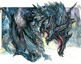 Print of Alduin ~ Dragon from Skyrim